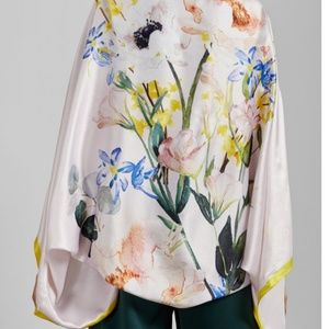New Ted Baker Floral Silk Scarf Wrap